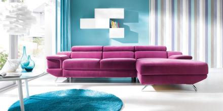 kontrastujące barwy w salonie z narożnikiem Coletto, Gala Collezione